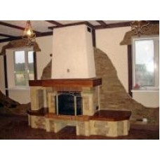 Fireplace made of sandstone and quartz